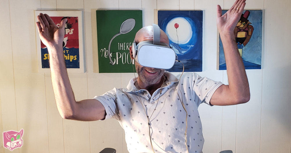 Darrell using the Oculus Go in our Bargain Banging Review
