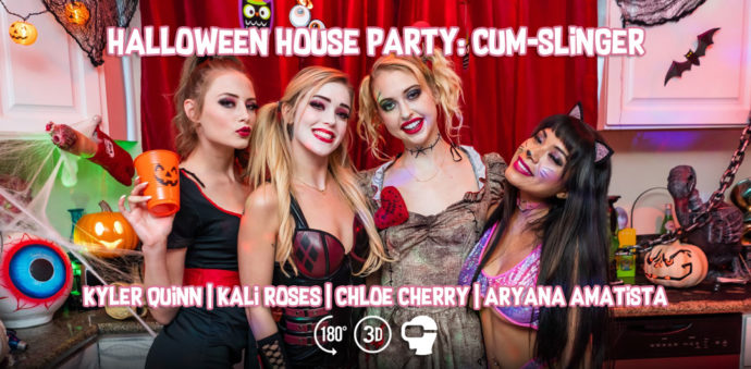 Halloween House Party: Cum-Slinger - Aryana Amatista, Chloe Cherry, Kali Roses, Kyler Quinn